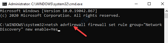 Command Prompt (admin) Run Command To Enable Network Discovery Enter