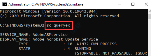 Command Prompt (admin) Run Sc Queryex Command Enter