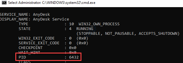Command Prompt (admin) Check Service Name Note Pid