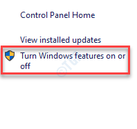 Control Panel Programs And Features Turn Windows Feature On Or Off