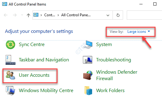 Control Panel View By Large Icons User Accounts