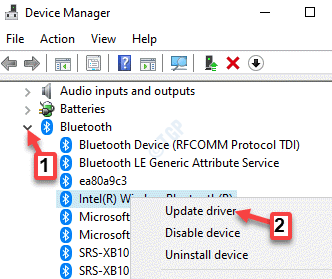 Device Manager Bluetooth Bluetooth Device Right Click Update Driver