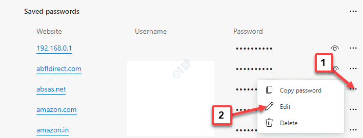 Edge Password Saved Passwords Website Three Dots Edit