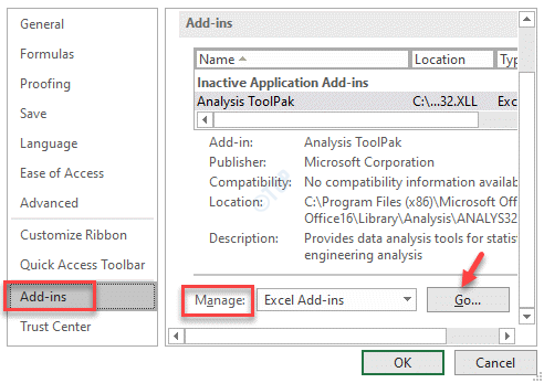 Excel Options Add Ins Manage Go