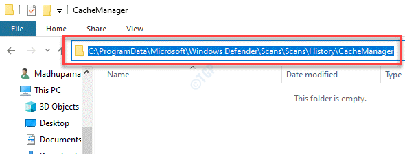 File Explorer Navigate To Cachemanager Folder In Windows Defender Should Be Empty