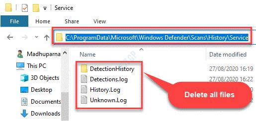 File Explorer Navigate To Service Folder In Windows Defender Select All File Delete