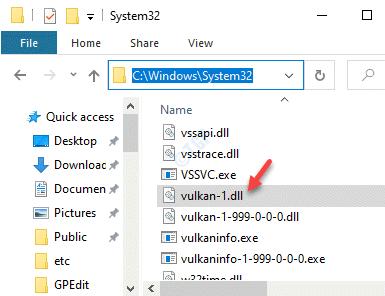 File Explorer Navigate To System32 Paste Vulkan 1.dl File