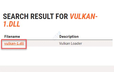 Filename Vulkan 1.dll Link