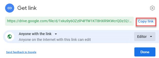 Get Link Copy Link Done
