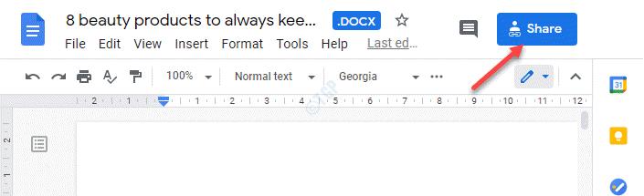 Google Docs File Blue Share Button