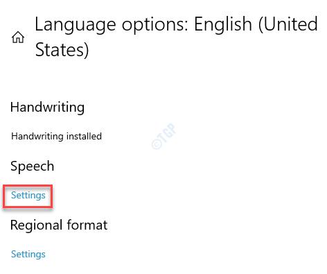 Language Options Speech Settings