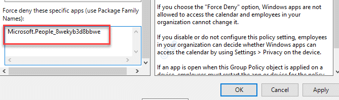 Let Windows Apps Access The Calendar Force Deny These Specific Apps Type Pfn Apply Ok