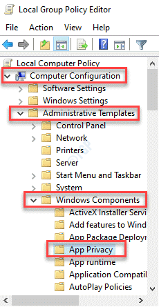 Local Group Policy Editor Computer Configuration Administrative Templates Windows Components App Privacy