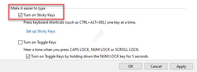Make It Easier To Type Turn On Sticky Keys Check Apply Ok