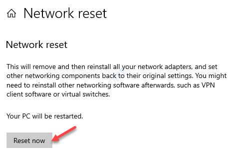 Network Reset Reset Now
