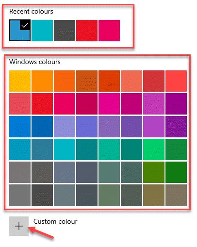Recent Colours Windows Colours Custom Colour