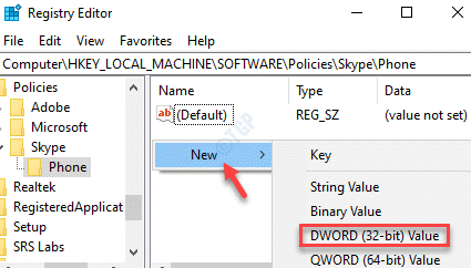 Registry Editor Phone Right Side New Dword (32 Bit) Value