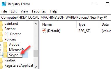 Registry Editor Policies Rename New Key Skype