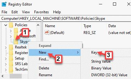 Registry Editor Policies Skype New Key