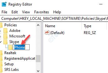 Registry Editor Policies Skype Rename New Key Phone