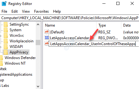 Registry Editor Rename New Multi String Value Letappsaccesscalendar Userincontroloftheseapps