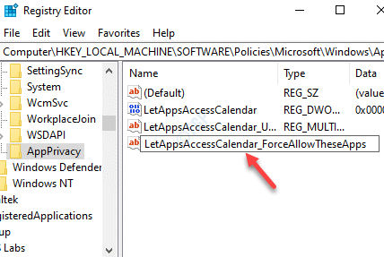 Rename New Multi String Value Letappsaccesscalendar Forceallowtheseapps