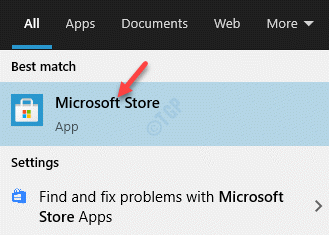 Result Left Click Microsoft Store