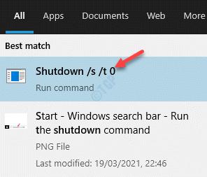 Result Left Click On Shutdown Command To Run
