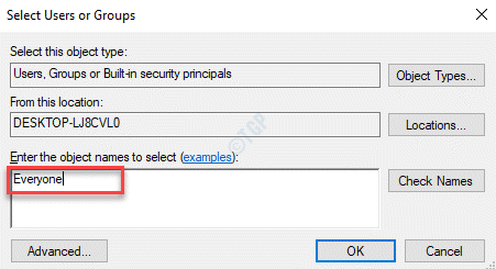 Select Users Or Groups Enter The Object Names To Select Everyone