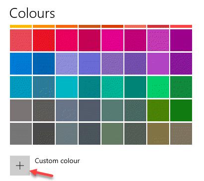 Settings Colours Custom Colour Click On Plus Sign
