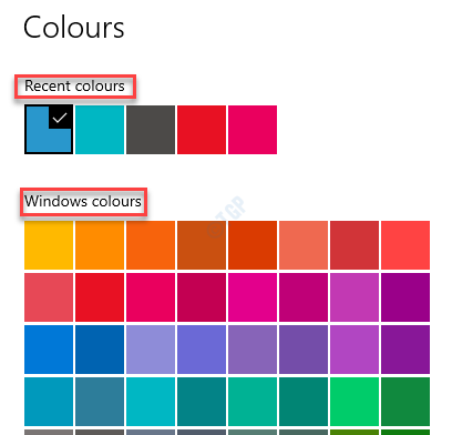 Settings Colours Pick From Recent Colours Or Windows Colours