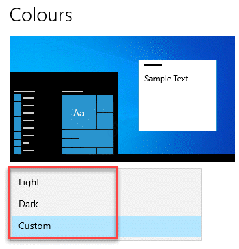 Settings Personalisation Colours Choose Your Colour Light, Dark Or Custom