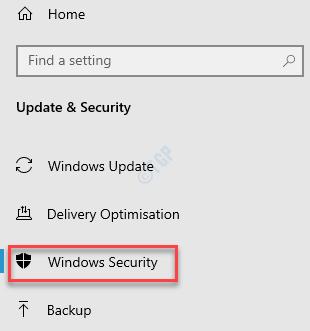 Settings Update & Security Windows Security