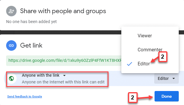 Share With People And Groups Anyone On The Internet With This Link Can Edit Editor Done