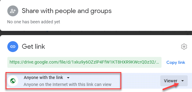 Share With People And Groups Anyone On The Internet With This Link Can View Viewer