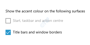 Show The Accent Color On The Following Surfaces Title Bars And Windows Borders