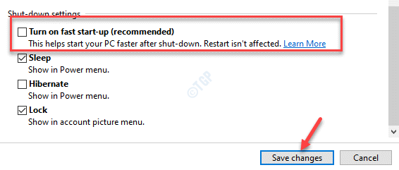 Shut Down Settings Turn On Fast Start Up Save Changes