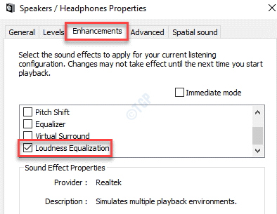 Speaker Properties Enhancements Loudness Equalization Check