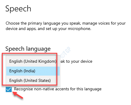 Speech Settings Speech Language Select From Drop Down Recognise Non Native Accents For This Language Check