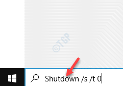 Start Windows Search Bar Run The Shutdown Command