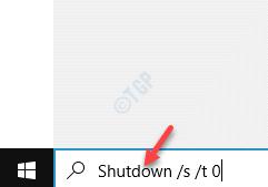 Start Windows Search Bar Run The Shutdown Command