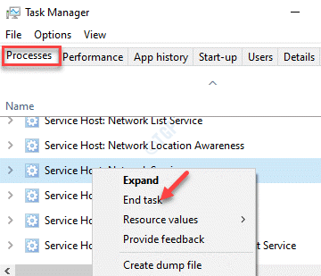 Task Manager Processes Windows Processes Svchost.exe (netsvcs) End Task