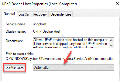Upnp Device Host Service Properties General Startup Type Automatic