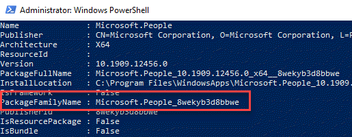 Windows Powershell Note Packagefamilyname
