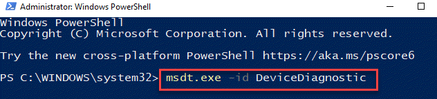 Windows Powershell (admin) Run Command To Run Hardware And Devices Troubleshooter Enter