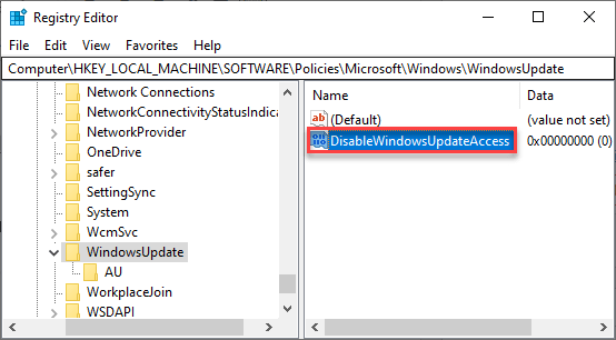 Disable Windows Update Access Min