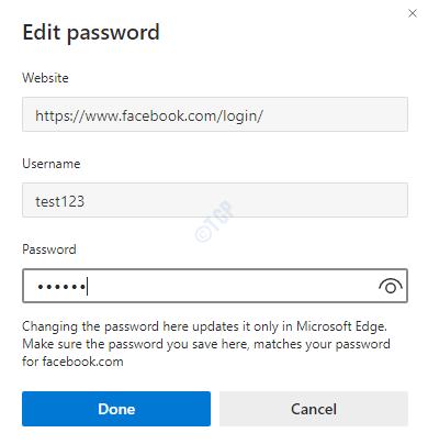 Edit Password Dialog