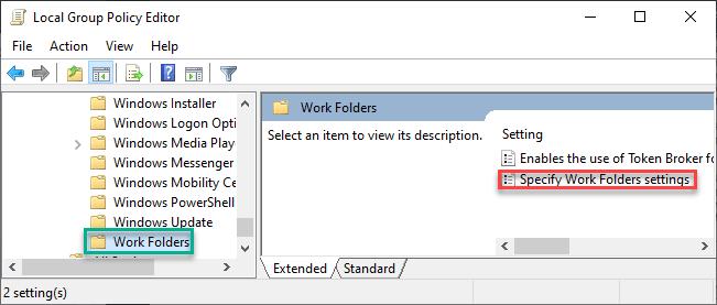 Specify Work Folders Min