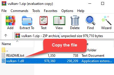 Zip File Vulkan 1.dll File Copy