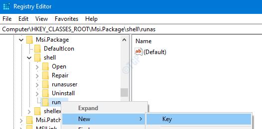 run as new key